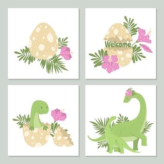Cartões fofos com dinossauros e seu ovo.
