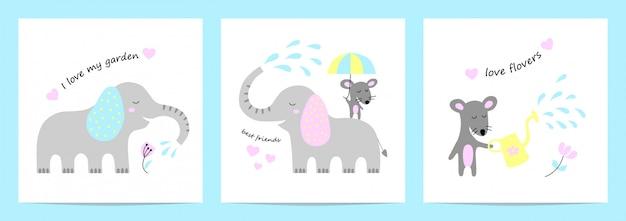 Cartões fofos com elefante e rato