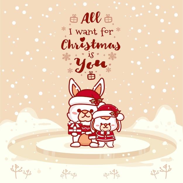 Cartões fofos de casal coelhinho. tudo que eu quero no natal é você. ilustração em vetor mão desenhada.