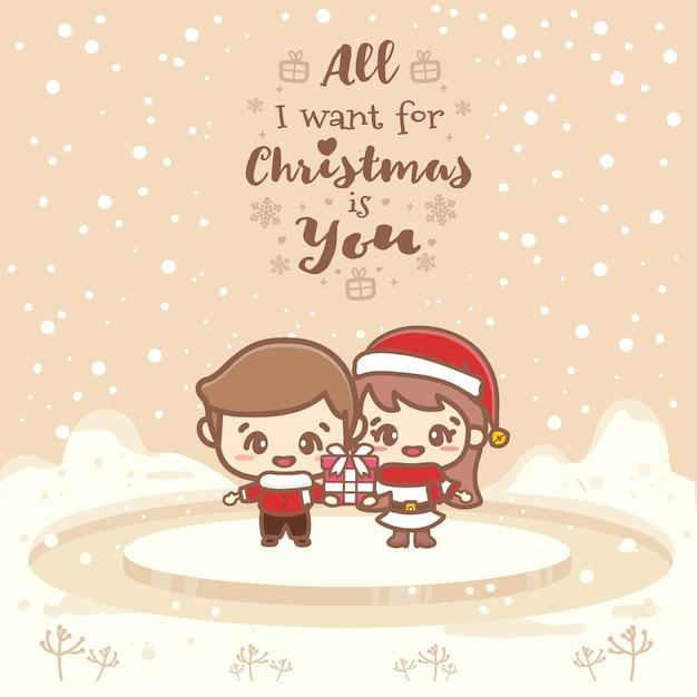 Cartões fofos de casal menino e menina. tudo que eu quero no natal é você. ilustração em vetor mão desenhada.