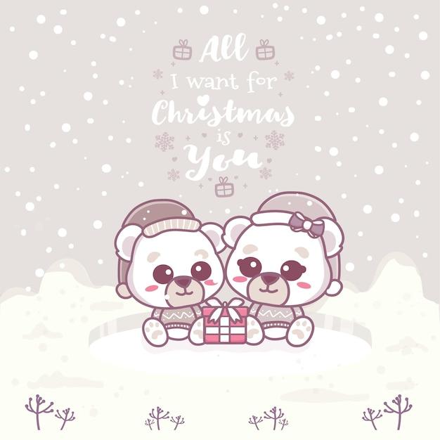 Cartões fofos de urso polar casal. tudo que eu quero no natal é você. ilustração em vetor mão desenhada.
