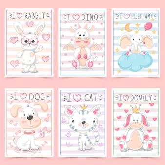 Cartões fofos para crianças com animais