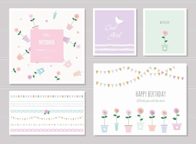 Cartões fofos para meninas.
