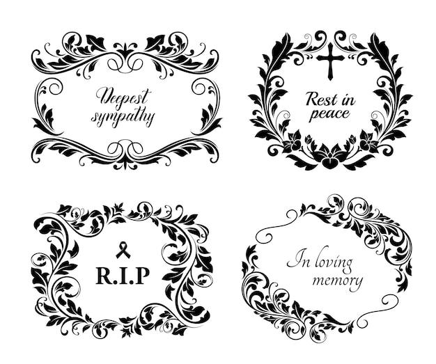 Cartões fúnebres, grinaldas florais vintage de condolências