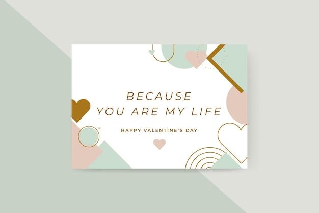 Cartões geométricos coloridos para o dia dos namorados