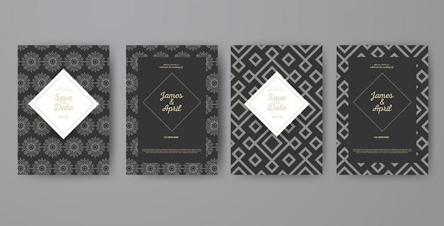 Cartões geométricos do convite do casamento do art deco