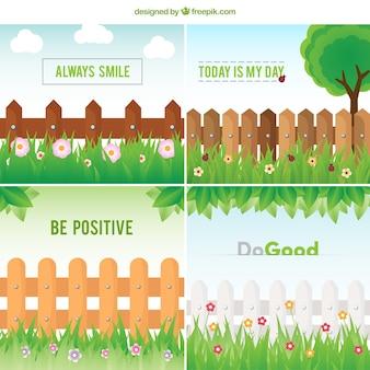 Cartões gramado com frases positivas