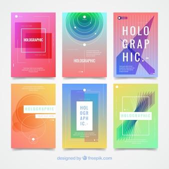Cartões holográficos com formas abstratas