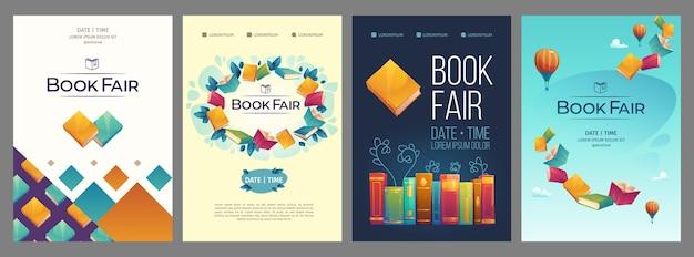 Cartões ilustrados da feira de livros