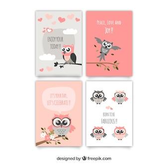 Cartões impressionantes de corujas em cores pastel