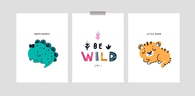 Cartões infantis com bebê fofo tigre, dinossauro. cartões de marco