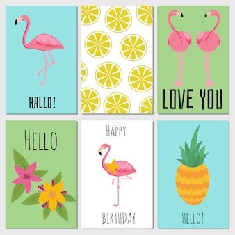 Cartões infantis de verão com frutas tropicais, plantas e flamingos