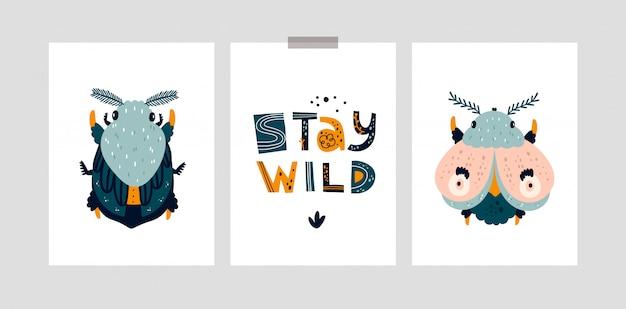 Cartões infantis ou cartaz com bug bonito, mariposa, borboleta. permaneça selvagem