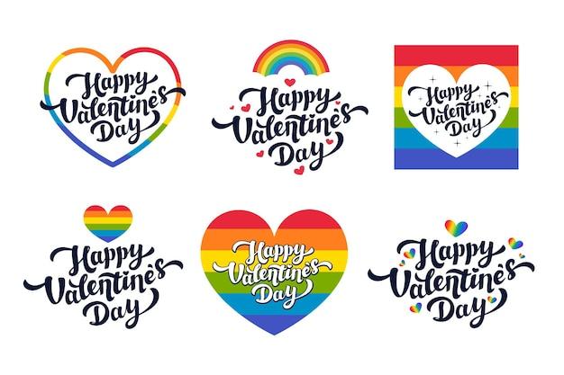 Cartões lgbt do dia dos namorados - conjunto de cartões ou adesivos do dia do amor para a comunidade gay