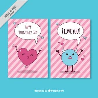 Cartões listrados para dia dos namorados