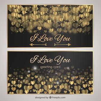 Cartões luxuosos com corações dourados