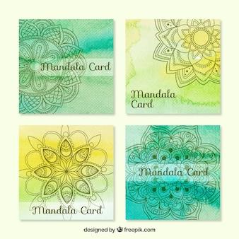 Cartões mandala com aguarelas