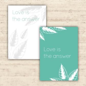 Cartões minimalistas com ilustrações botânicas