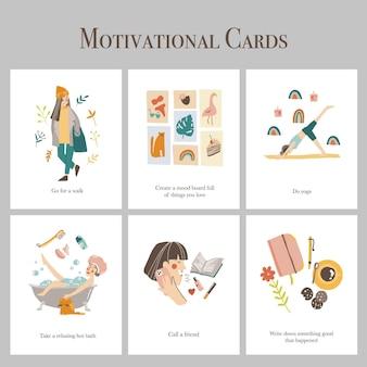 Cartões motivacionais desenhados à mão