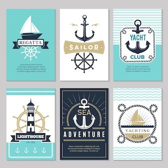 Cartões náuticos. marinha logotipos vintage mar corda nó âncora navio oceano símbolos decorativos para o fundo de rótulos. ilustração de cartão náutico marítimo, âncora e navio