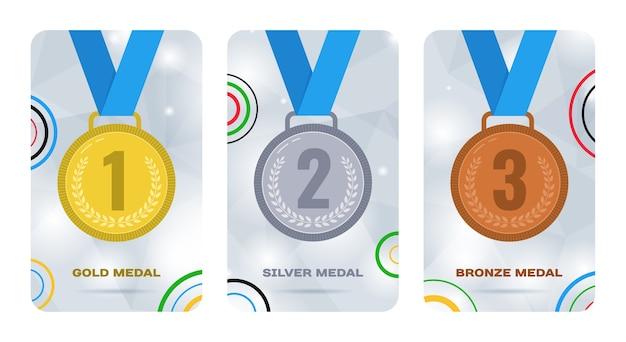 Cartões olímpicos com medalhas de ouro, prata e bronze