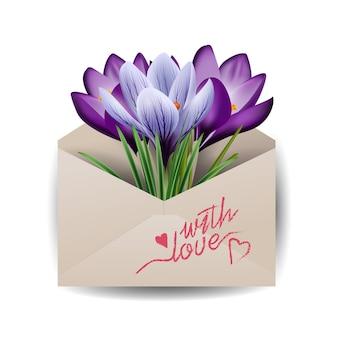Cartões para dia dos namorados flores coloridas da primavera açafrões conceito fundo de primavera