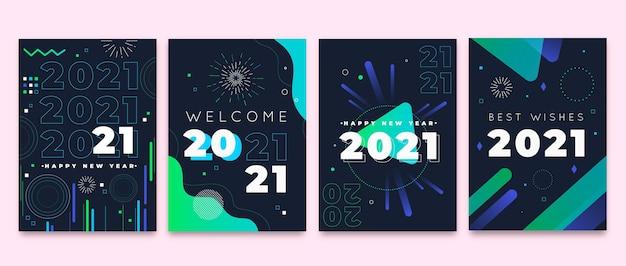 Cartões planos de ano novo de 2021
