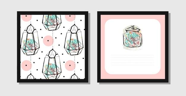 Cartões postais abstratos desenhados à mão com padrão