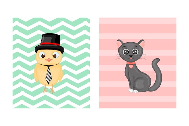 Cartões postais com animais. ilustração vetorial com coruja e gato.