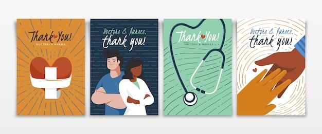 Cartões postais de agradecimento de apartamento orgânico, médicos e enfermeiras