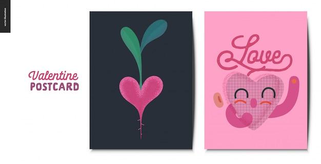 Cartões postais de dia dos namorados com caráter de coração