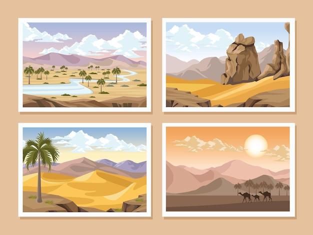 Cartões postais de paisagens do deserto
