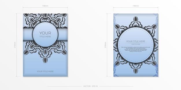 Cartões postais retangulares em azul claro com ornamentos pretos luxuosos. desenho vetorial de cartão de convite com padrões vintage.