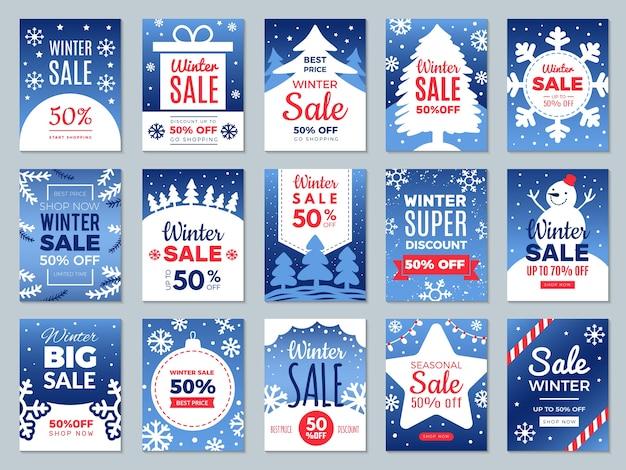 Cartões promocionais de inverno. season oferece rótulos de banners de publicidade para o modelo de vetor promocional de melhor preço. desconto de publicidade de ilustração, promoção de preço de oferta