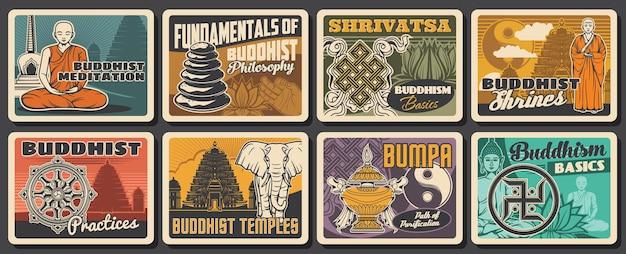 Cartões retro de religião budista e meditação budista