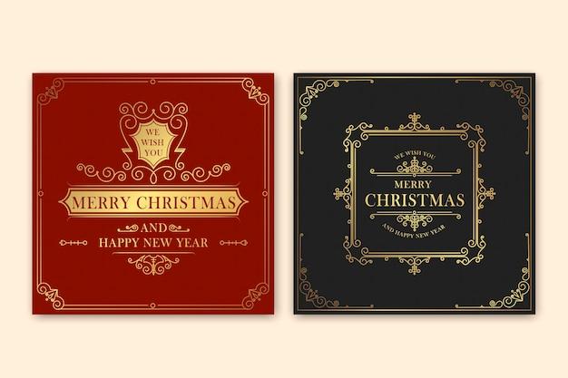 Cartões retro feliz natal