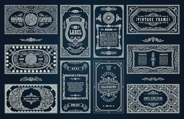 Cartões retro vintage e design de molduras caligráficas