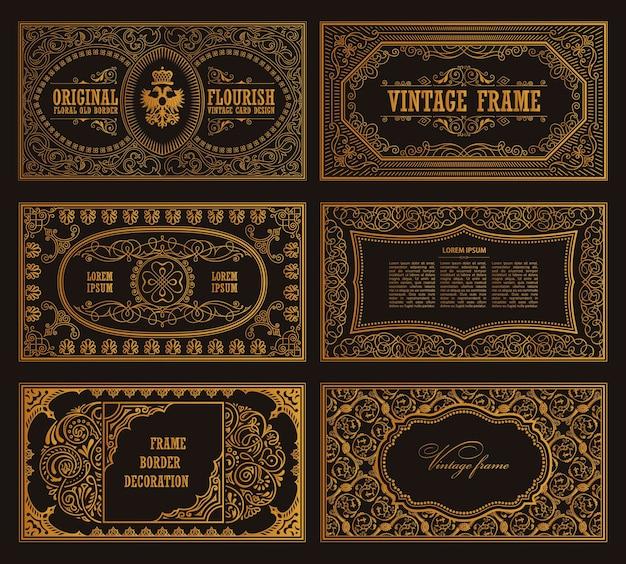 Cartões retro vintage e molduras caligráficas de modelo dourado