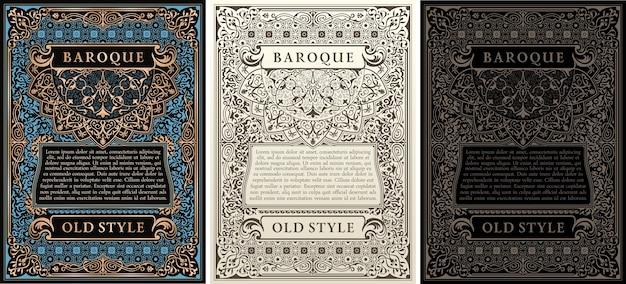 Cartões retro vintage e molduras caligráficas