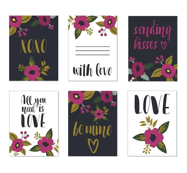 Cartões românticos de dia dos namorados.