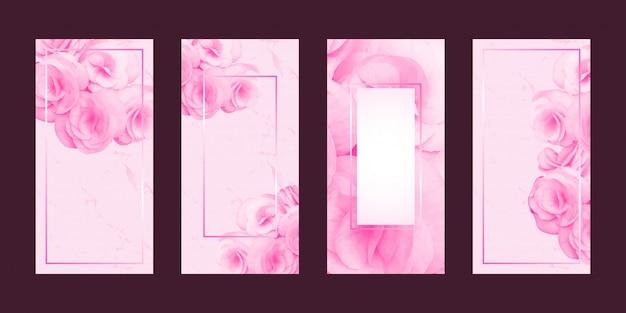 Cartões românticos flor e moldura de texto