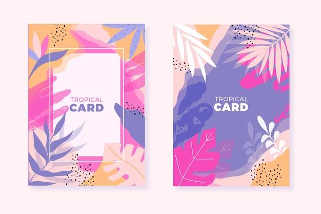 Cartões tropicais abstratos
