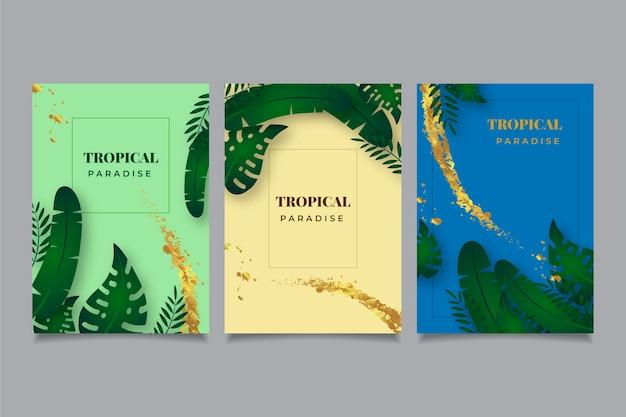 Cartões tropicais com folhas e salpicos de ouro
