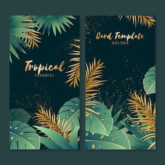 Cartões tropicais com salpicos de ouro