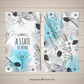 Cartões tropicais modernos preto e branco