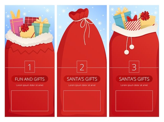 Cartões verticais com sacos de papai noel para o projeto de natal.