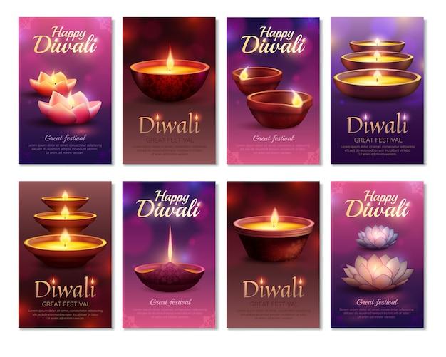 Cartões verticais da celebração de diwali