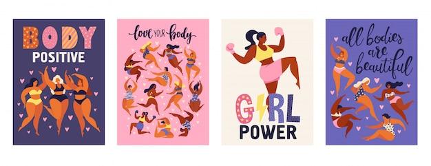 Cartões verticais positivos do corpo do feminismo.