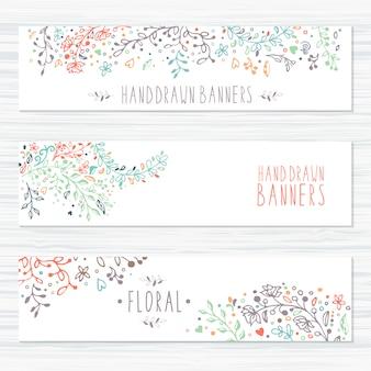 Cartões vintage com padrões de flores e ornamentos florais