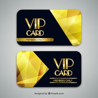 Cartões vip com formas geométricas douradas